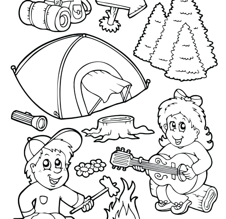 795x768 Camping Coloring Pages Camping In The Night On Summer Camp