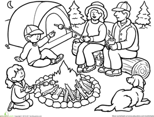 301x229 Camping Coloring Pages Preschool To Tiny Camping Coloring Pages