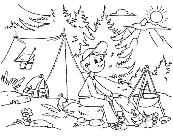 600x471 Camping Coloring Book Also Camping Coloring Pages Camping Coloring
