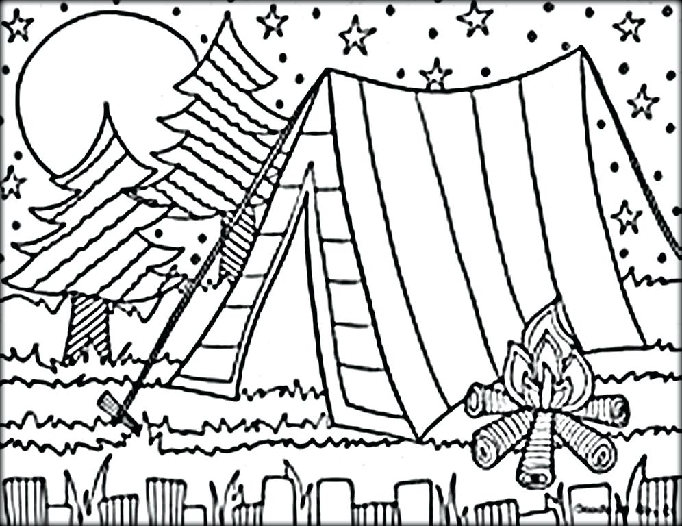 996x768 Camping Coloring Page Mesmerizing Camping Coloring Pages In Free