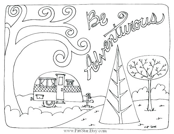 570x441 Camping Coloring Pages Camping Coloring Pages With Camping