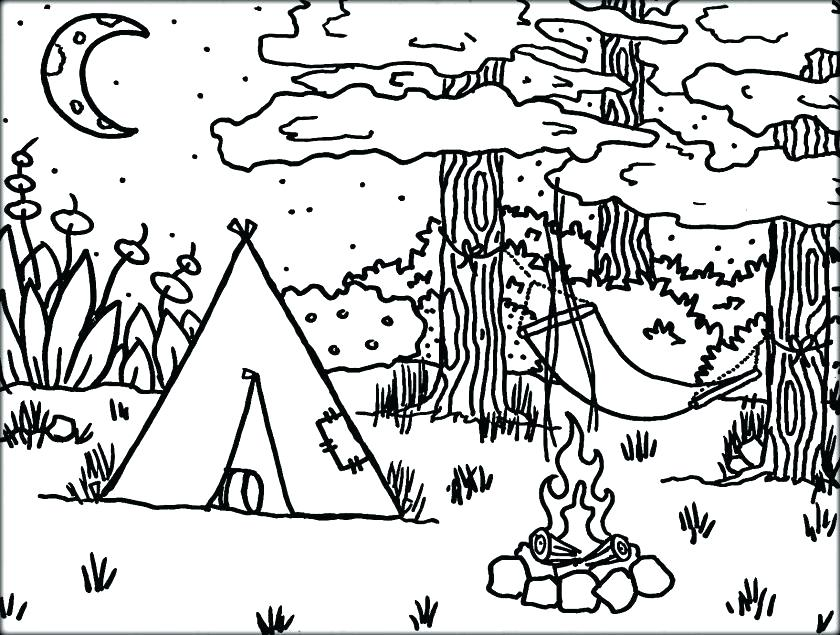 840x635 Camping Coloring Pages To Print Camping Coloring Pages Scouts