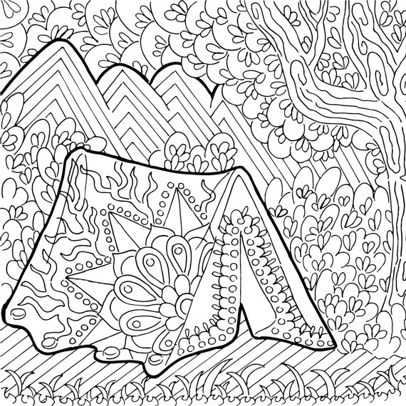 570x570 Printable Coloring Page Zentangle Camping Coloring Book
