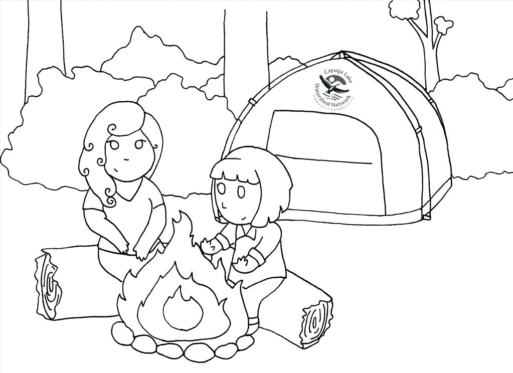 1023x744 Camping Coloring Pages For Preschoolers Camping Coloring Page