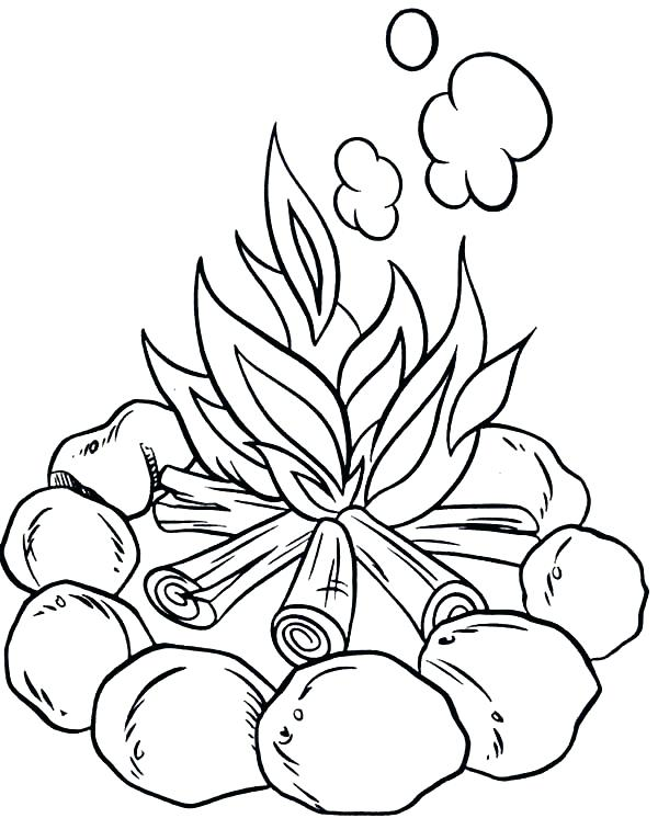 600x746 Camping Coloring Pages Make Campfire When Camping Coloring Page