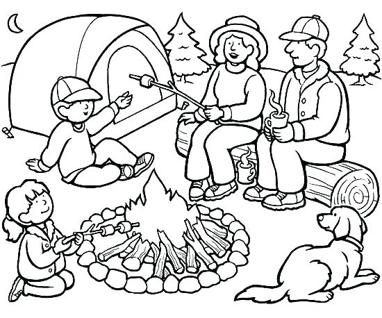 550x458 Camping Coloring Pages To Print Camping Coloring Pages Medium Size