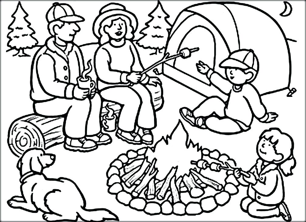 1007x731 Camping Themed Coloring Pages Kids Coloring Hiking Camping
