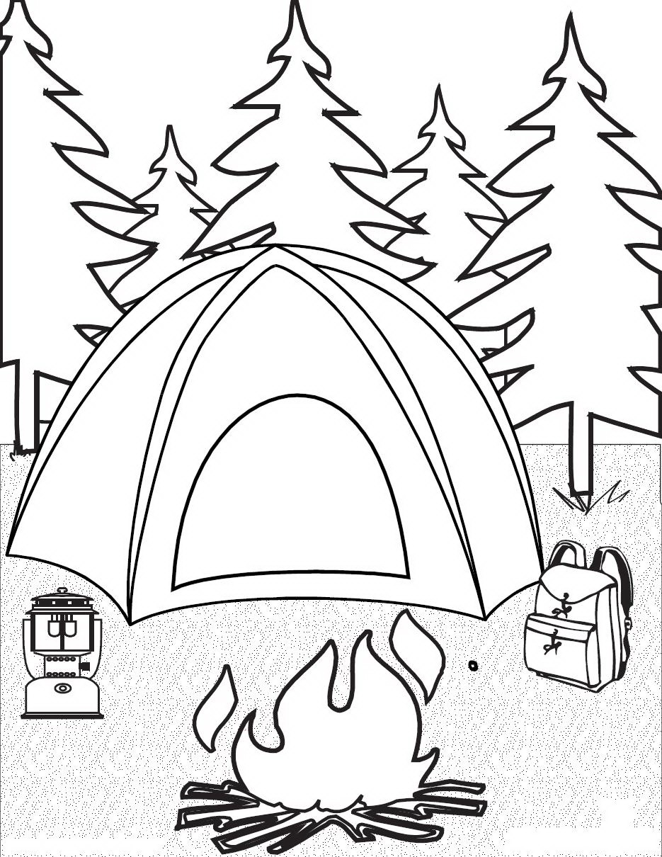 935x1210 Easy Camping Coloring Pages Page