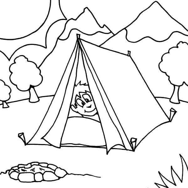 600x600 Camping Coloring Sheets Boy Sleeping At Camping Tent Coloring Page