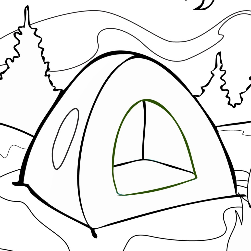 1024x1024 Camping Tent Coloring Page Free Printable Pages