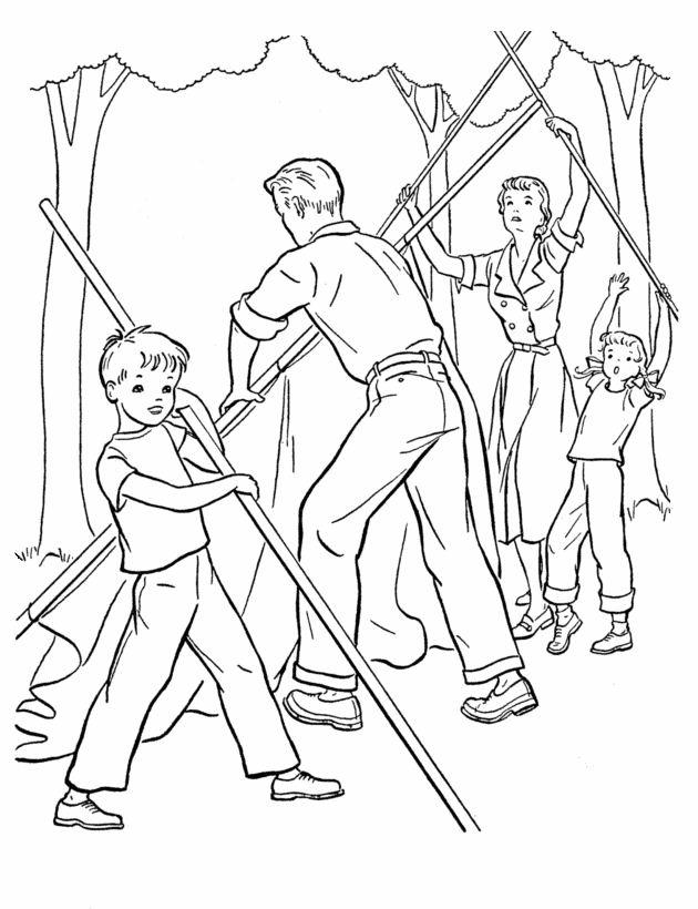 630x820 Camping Coloring Pages Setting Up The Tent