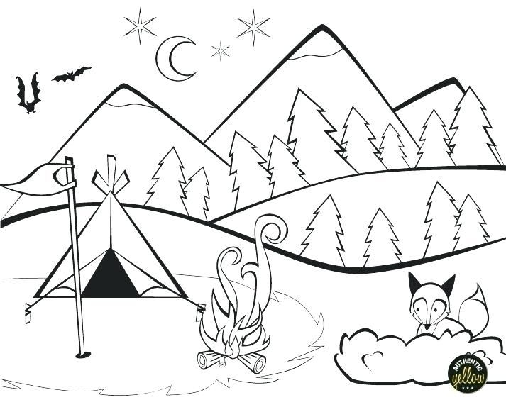 713x581 Coloring Pages Of Mountains Camping Coloring Page Camping
