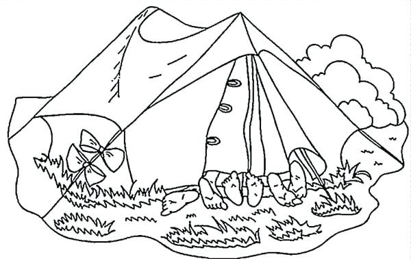 600x378 Sleeping Bear Coloring Pages To Print Few Kids In Camping Tent