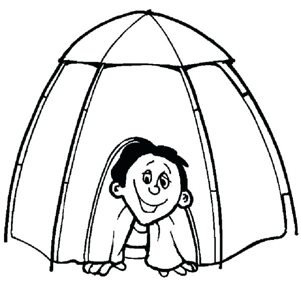 600x585 Tent Coloring Page