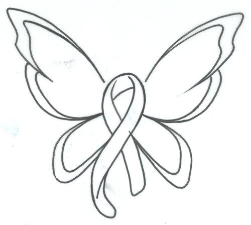 500x448 Breast Cancer Ribbon Coloring Pages Butterfly Ribbon Breast