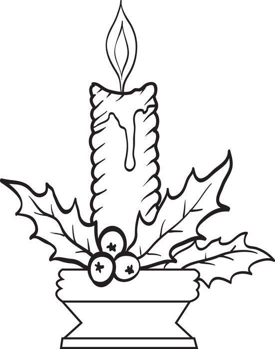 551x700 Christmas Candles Coloring Page