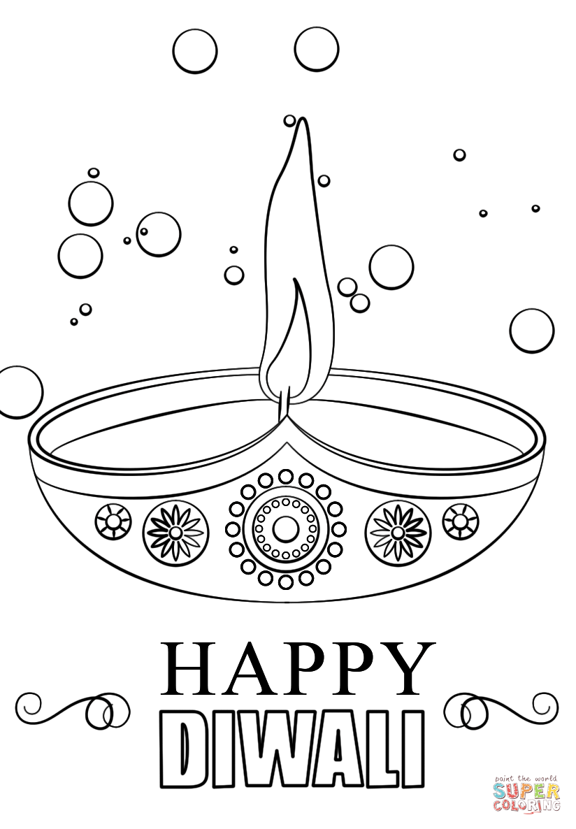 824x1186 Diwali Candle Coloring Page