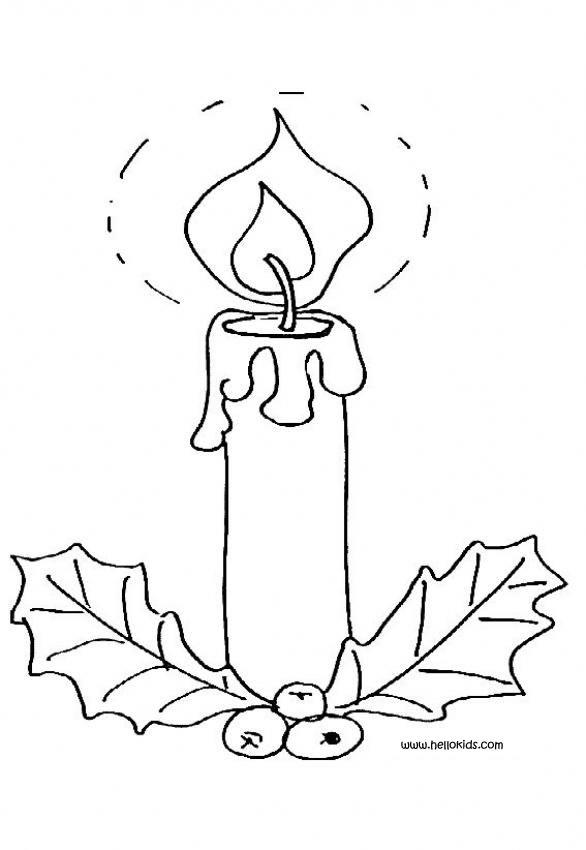 586x850 Christmas Candles Coloring Pages