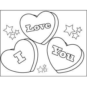 300x300 I Love You Candy Hearts Coloring Page