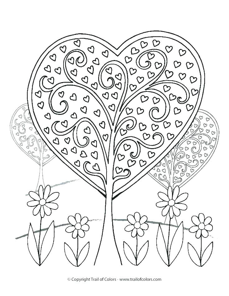 735x951 Valentine Heart Coloring Pages With New Coloring Page Of A Heart