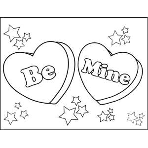 300x300 Be Mine Candy Hearts Coloring Page