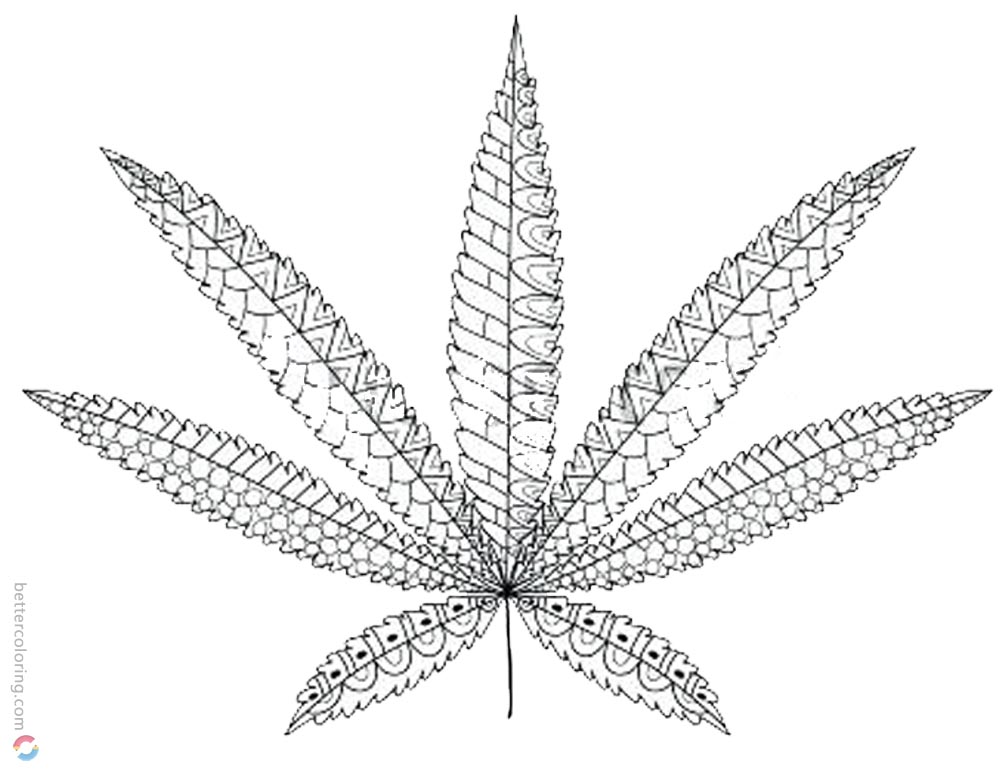 1000x780 Weed Leaf Coloring Pages Cannabis Leaf Tattoos