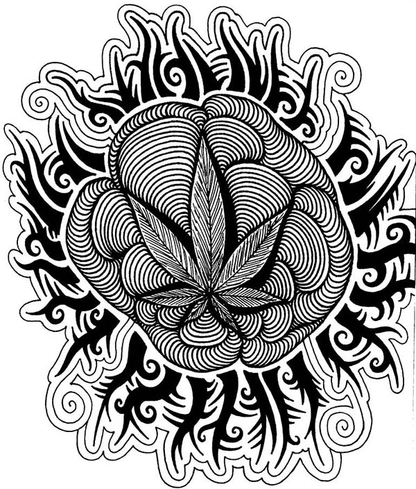 600x704 Cannabis Sativa Trippy Coloring Pages Batch Coloring