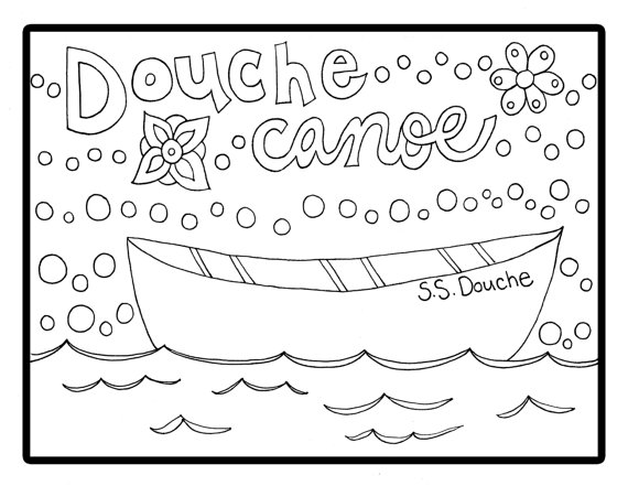 570x441 Douche Canoe Adult Coloring Instant Download Sheet