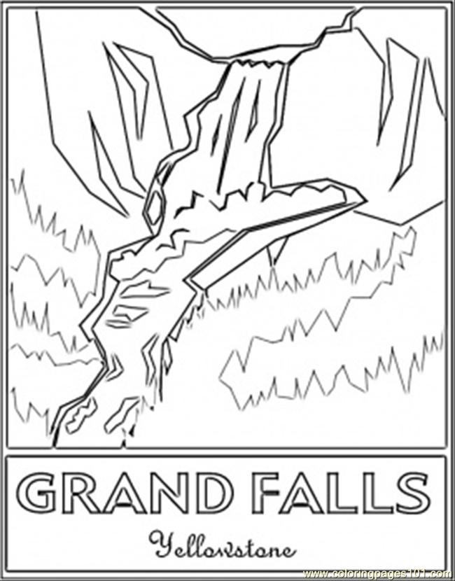 650x830 Grand Falls Yellowstones Coloring Page