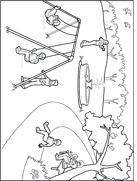466x615 Playground Coloring Pages Pig On The Playground Slide Coloring