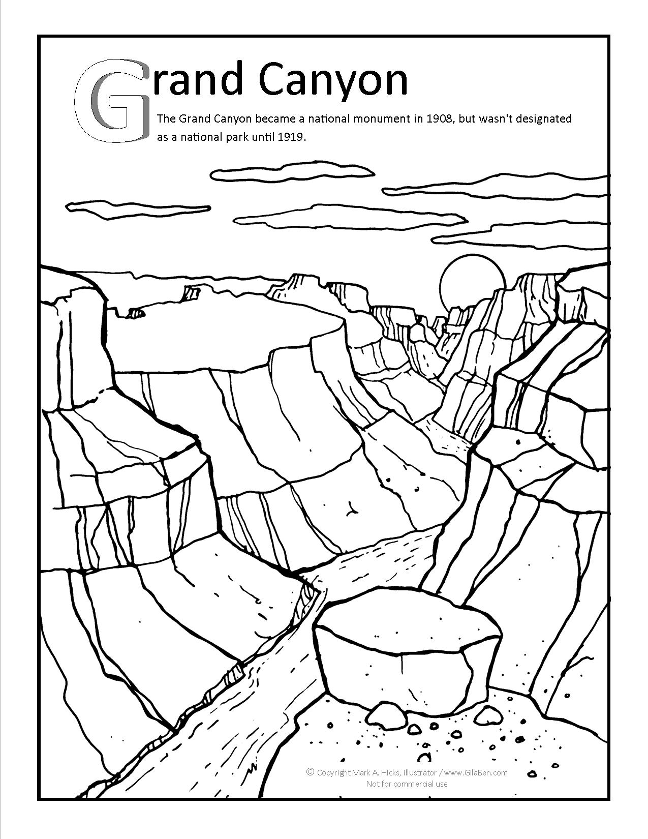 1275x1650 Grand Canyon Coloring Page