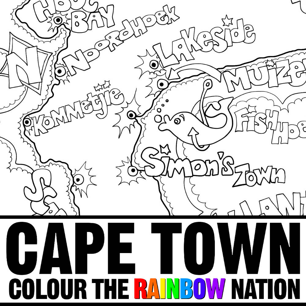 1000x1000 Cape Town Cape Peninsula Illustrated Map Coloring Pages