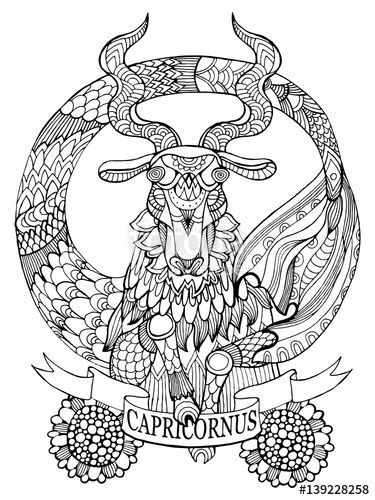 375x500 Capricorn Zodiac Sign Coloring Page For Adults Fotolia