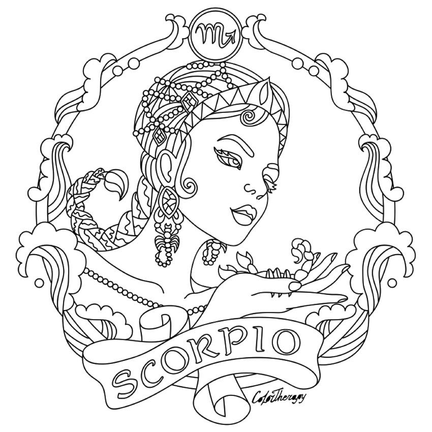850x850 Scorpio Zodiac Beauty Colouring Page Embroidery