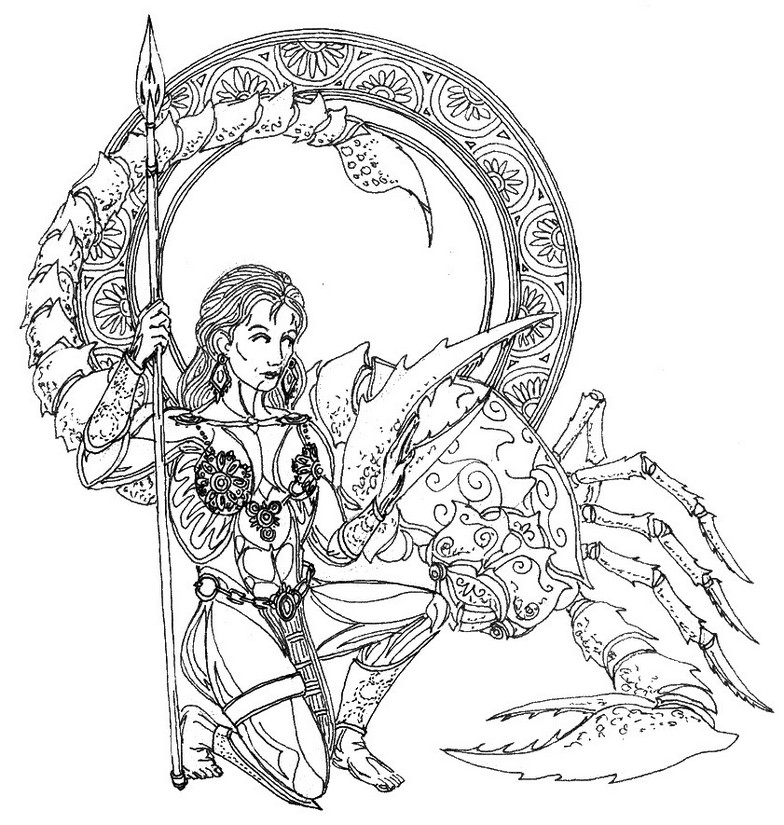 784x825 Adult Coloring Page Astrology Scorpio