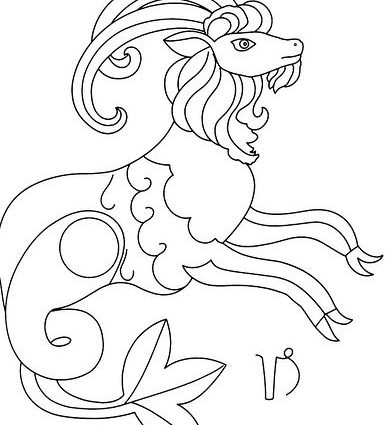 387x425 Capricorn Coloring Pages Capricorn Capricorn Zodiac And Embroidery