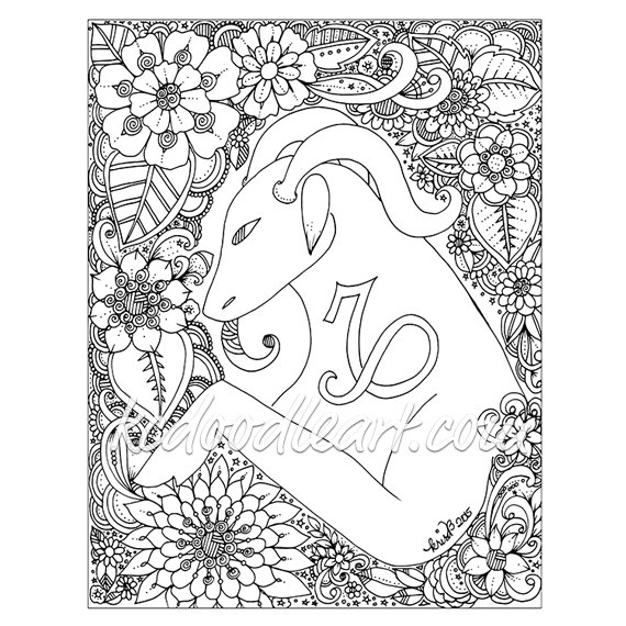 570x570 Instant Digital Download Adult Coloring Page Astro Sign