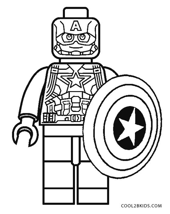 558x700 Coloring Pages Lego Captain America Free Printable For Kids