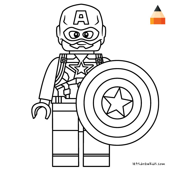 600x600 Coloring Pages Lego Captain America How To Draw Lego Marvel S