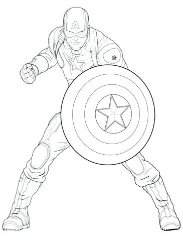 365x480 Captain America Shield Coloring Page Captain Printable Coloring