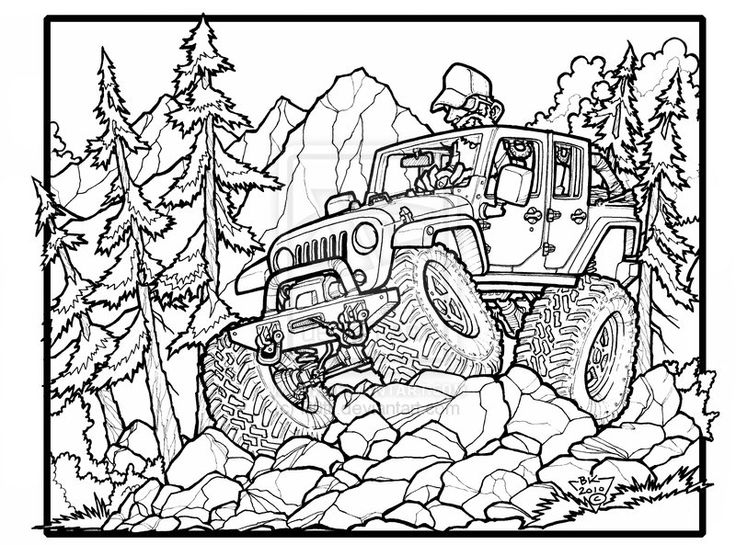 736x545 Best Jeep Coloring Book Images On Coloring Books
