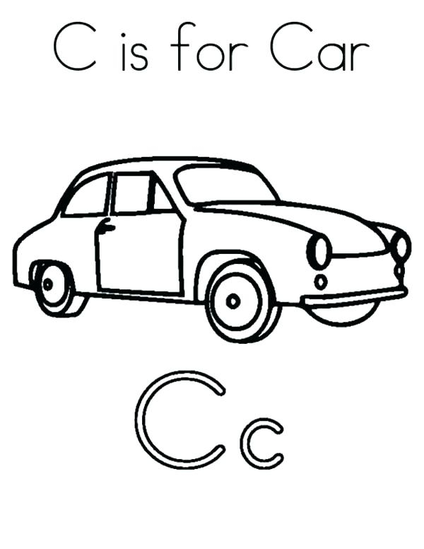 600x776 C Is For Car Coloring Page