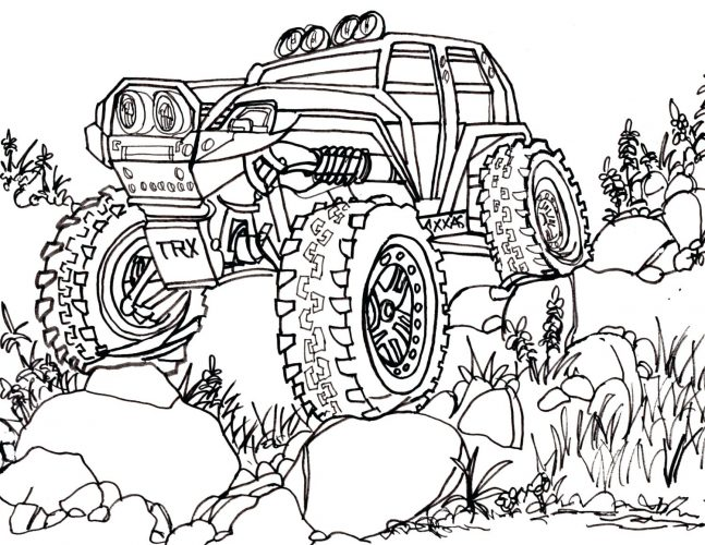 647x500 Coloring Pages Cars Coloring Page Summit Trail Truck Drawing