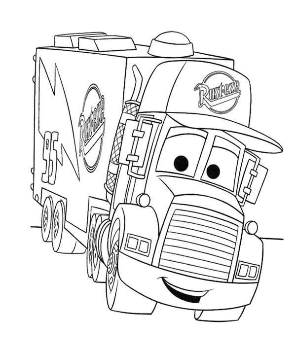 600x712 Cartoon Cars Truck Coloring Page Kids Coloring Pages