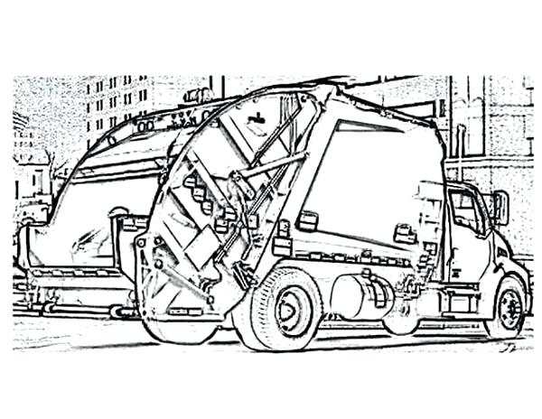 600x464 Garbage Truck Coloring Page Car Transporter Garbage Truck Coloring