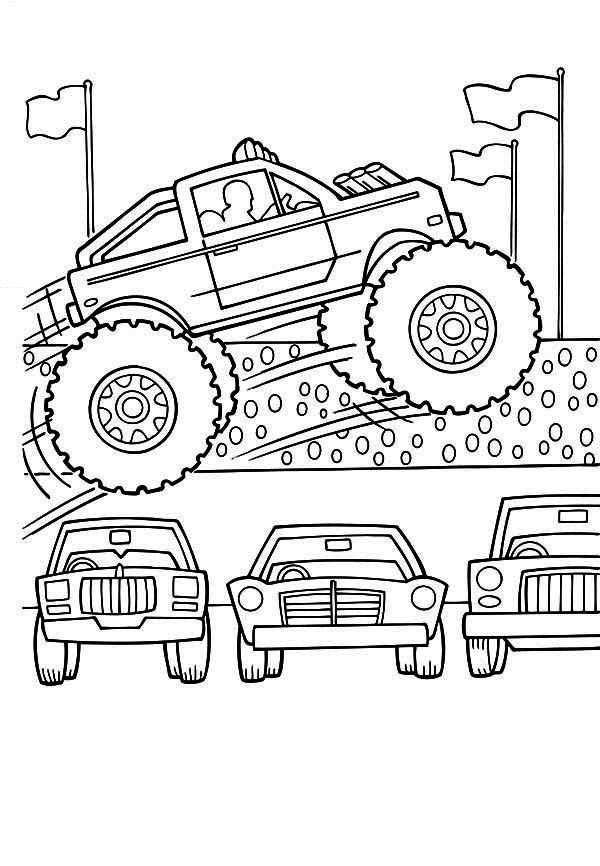 600x866 Monster Truck, Monster Truck Jumps Over Cars Coloring Page