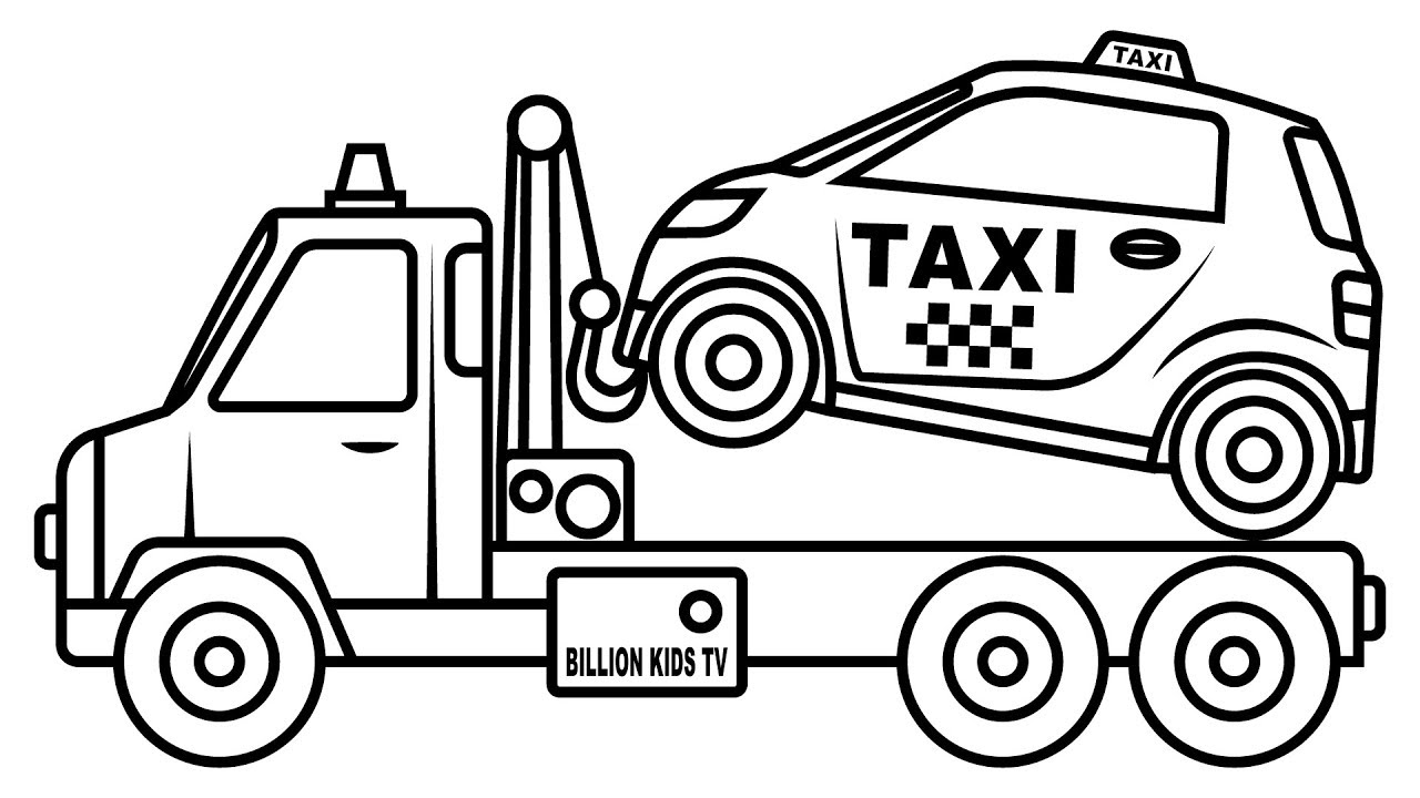 1280x720 Small Taxi Car Carrier Truck Coloring Pages, Colors For Kids