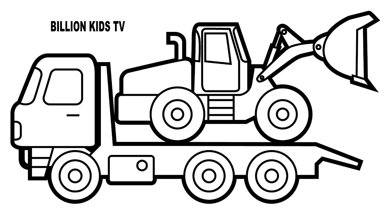 1280x720 Truck Coloring Pages, Colors With Car Carrier Truck, Fun Colouring