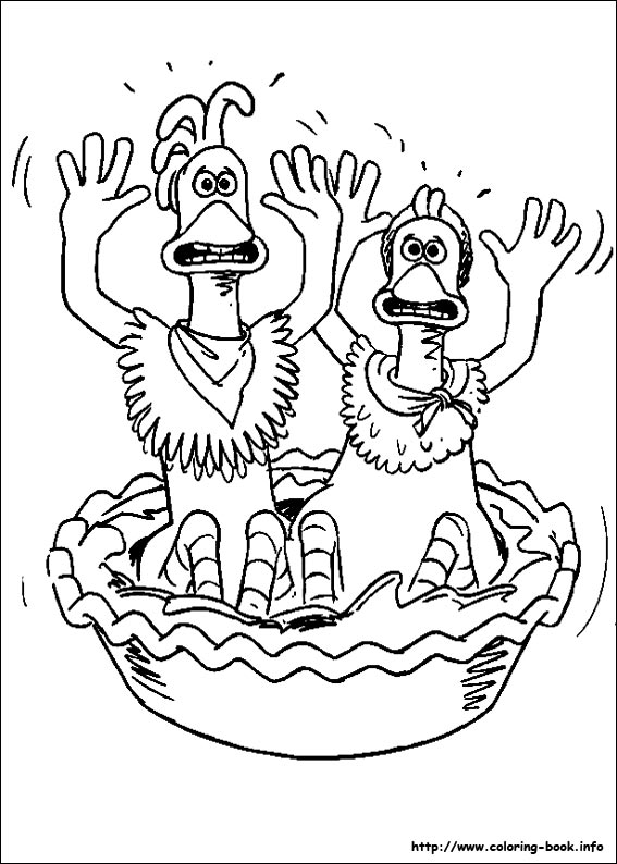 567x794 Chicken Run Coloring Picture