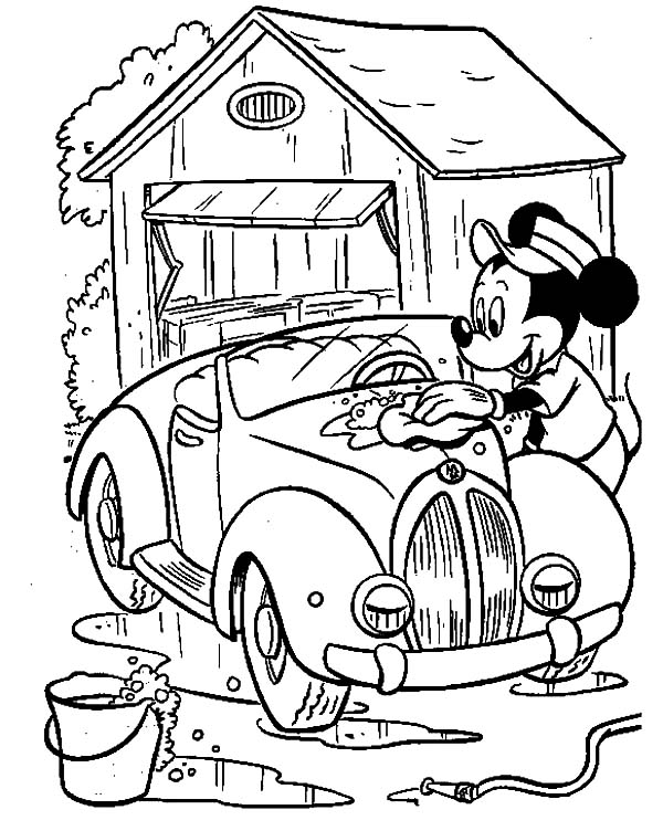 600x752 Mickey Mouse Doing Car Wash Coloring Pages Best Place To Color